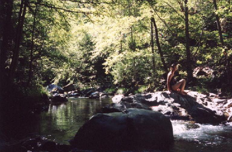 Sarah taking an impromptu dip in the creek. (July 21, 2002)