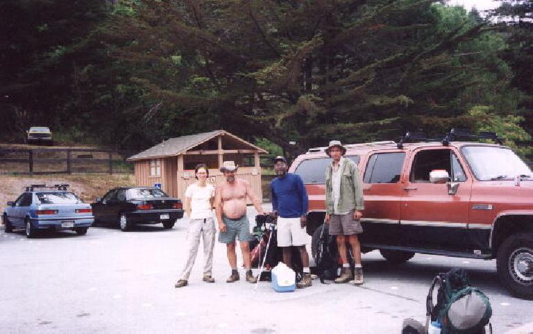 At the end: we run into the three jovial guys we kept seeing who had gone to the hot springs with 30 pounds of food in their packs! (July 21, 2002)