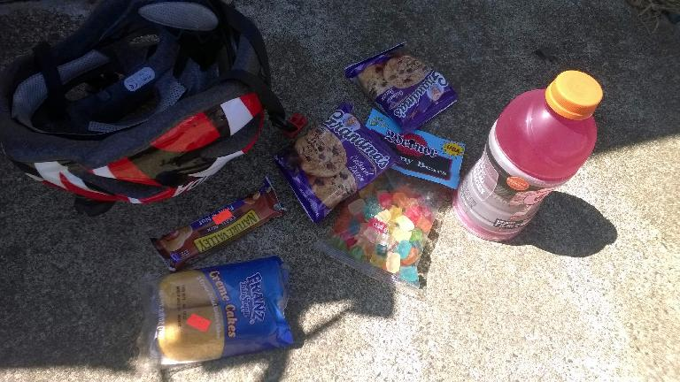 Convenience store food purchased during the Trans Am Bike Race.
