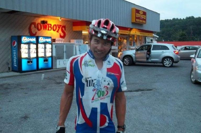 Felix Wong with Shermer's Neck in Damascus, Virginia during the 2015 Trans Am Bike Race.