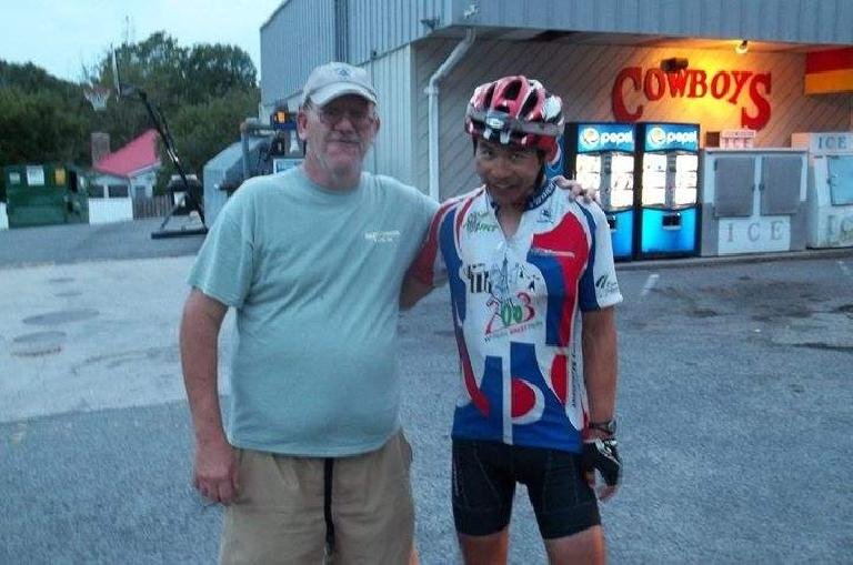 Larry Riddle and Felix Wong (with Shermer's Neck) in Damascus, Virginia during the 2015 Trans Am Bike Race.