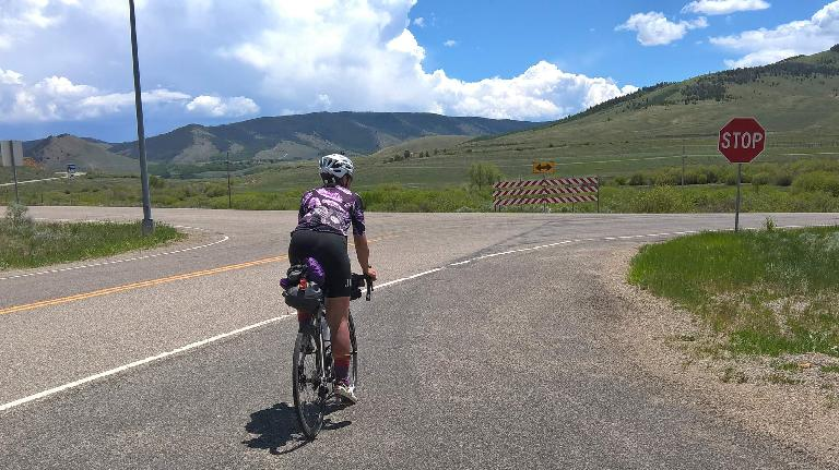 Sarah Hammond on the way over to Cowbrey in northern Colorado during the 2016 Trans Am Bike Race.