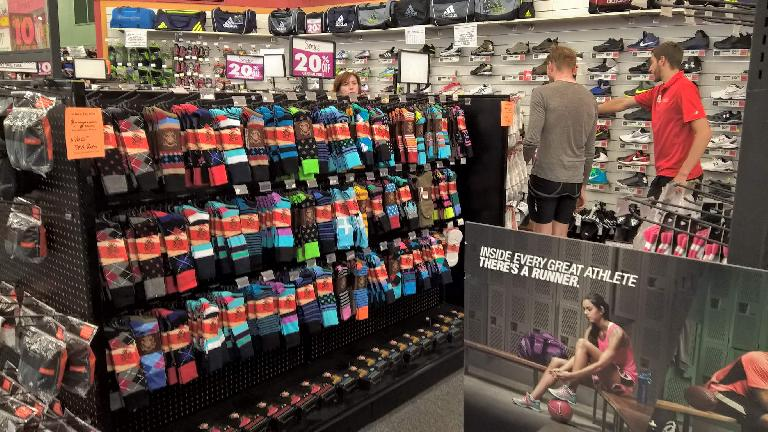 Michael Wacker shopping for shoes and socks at Sports Authority in Fort Collins, Colorado. (June 15, 2016)