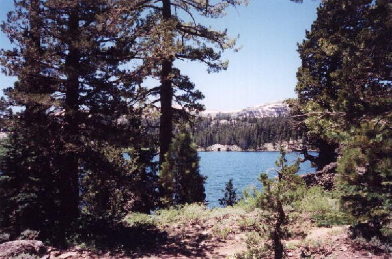 After a few miles of hiking we find the lake where we'd set up camp and fish at.