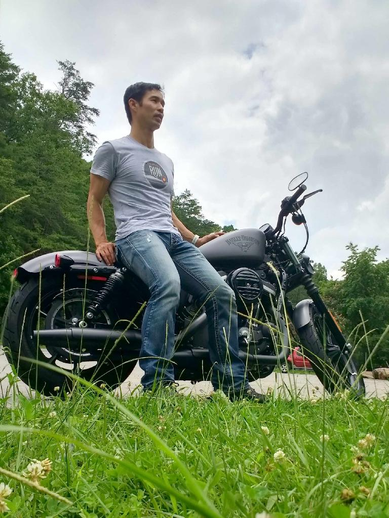 Felix Wong with a Charcoal Denim Harley-Davidson Sporster Iron 883 off Rt. 129 near Chilhowee, Tennessee.