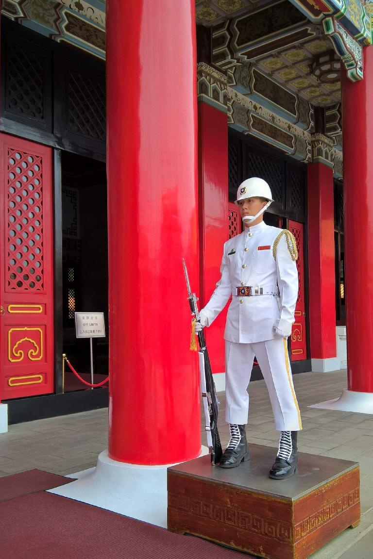 A guard at the National Revolutionary Martyrs' Shrine in Taipei, Taiwan.