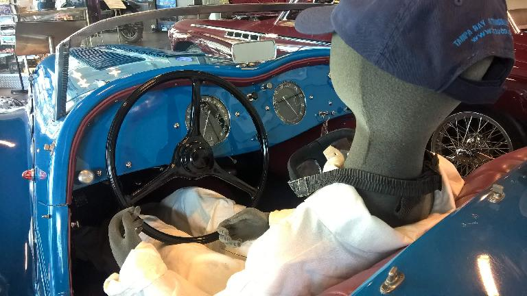 View from the driver's seat of the blue 1937 Peugeot Darl'Mat.