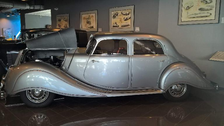 A silver 1938 Panhard Dynamic. It had a six-cylinder sleeve-valve engine.