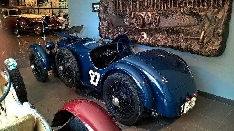 A blue 1929 Tracta A that was a 1929 Le Mans category winner.  Its top speed was 90 MPH.