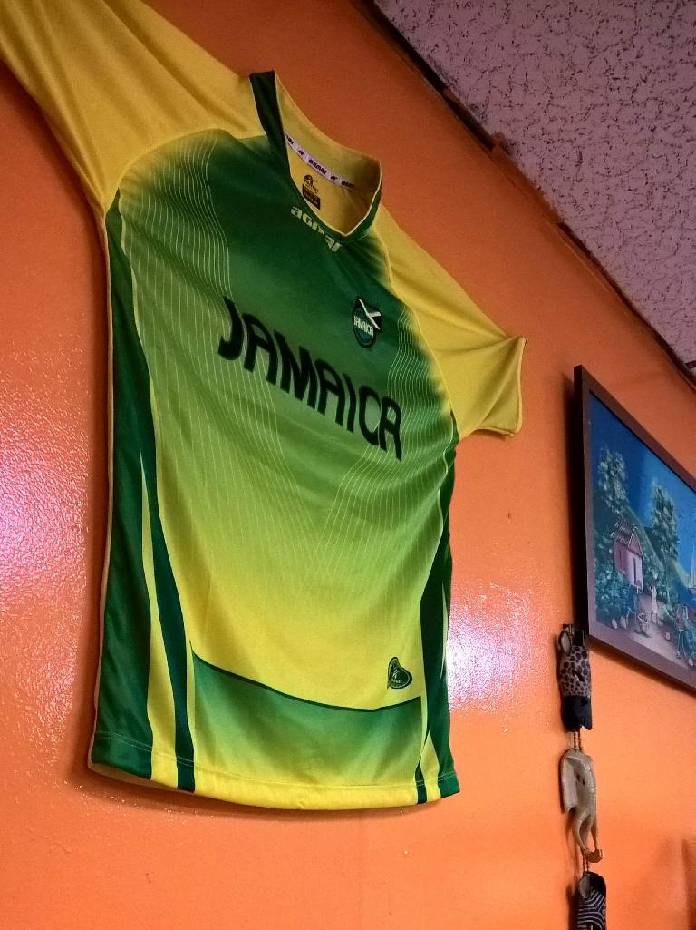 Jamaica jersey at Nicolette's Caribbean Café in Tampa, Florida.