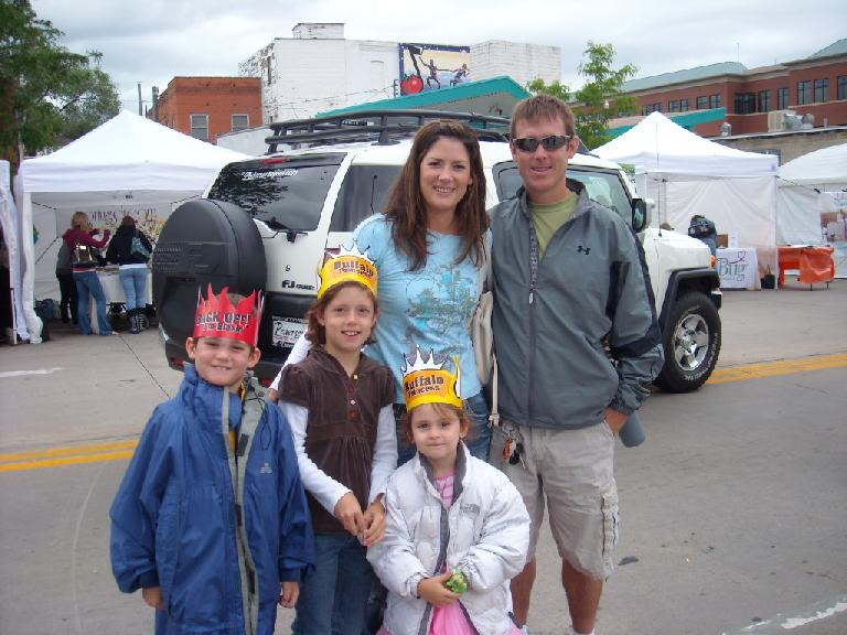 Brett, Rebekah and family. I think Rebekah forgot to get one of those hats for herself.