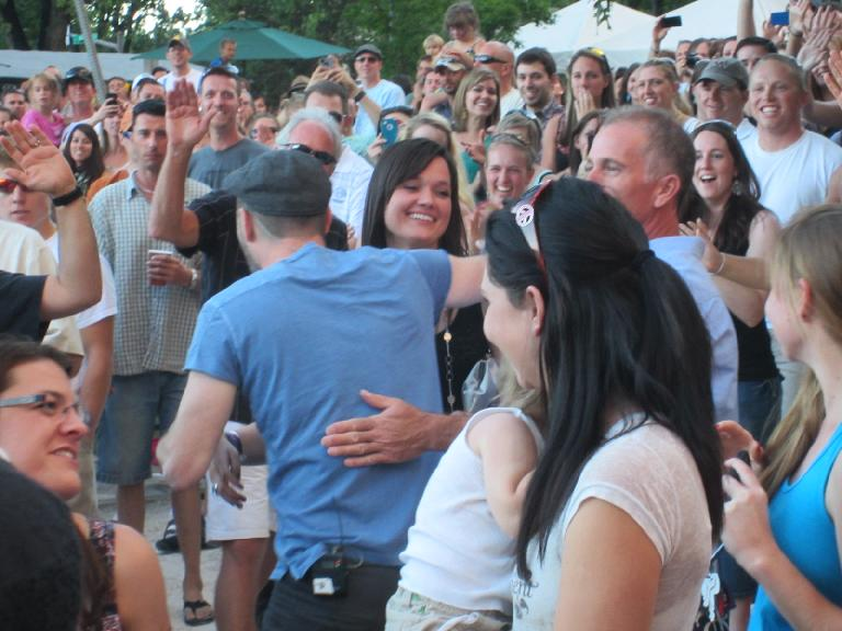 Matt Kearney went into the crowd during one of the songs to give folks a handshake or a hug.