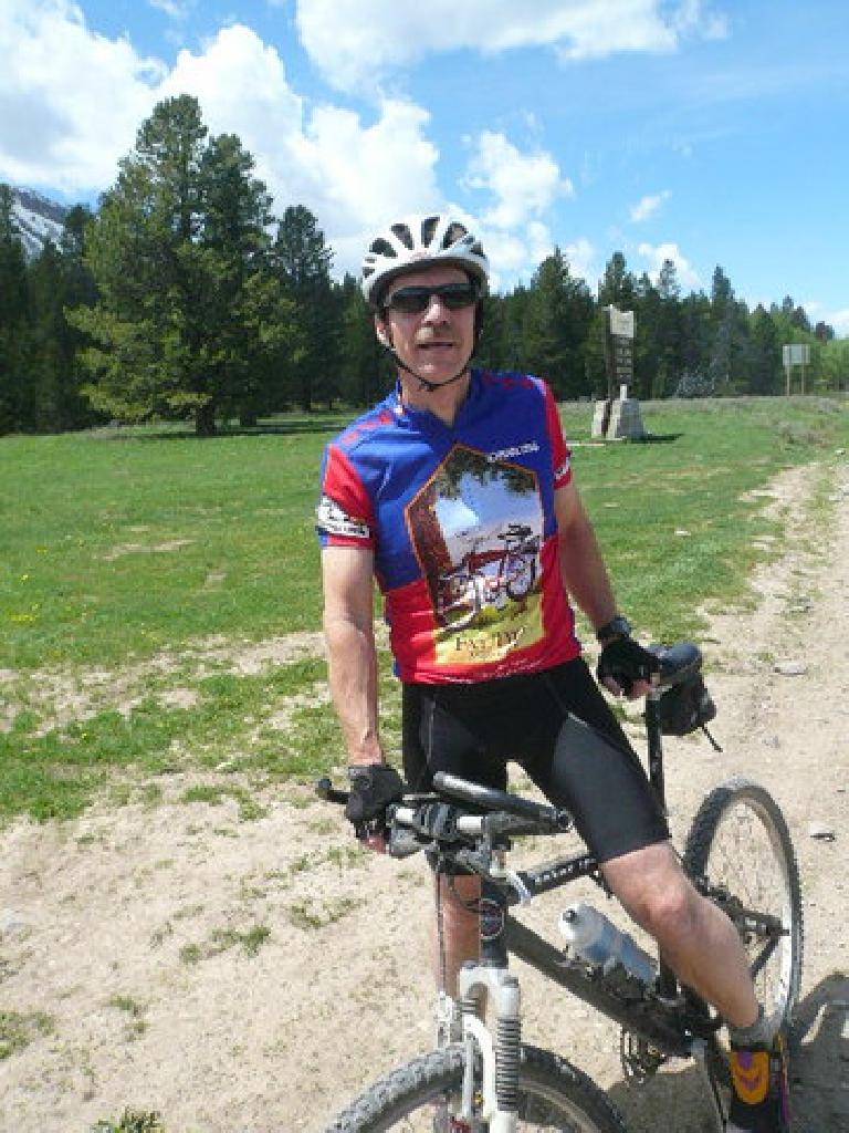 "Day 10: Just as I rode across the Idaho border, I encountered this cyclist named Rich wearing a Fat Tire T-shirt.  (""Hey, the town where Fat Tire beer is made is where I'm from!"" I exclaimed.)"