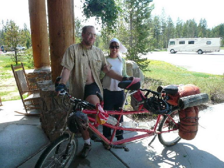 Day 11: Also in Flagg Ranch, I met these mtb tandem tourists, Angie and Colby, riding the Great Divide MTB Route south to north.  They were from Boulder, CO.