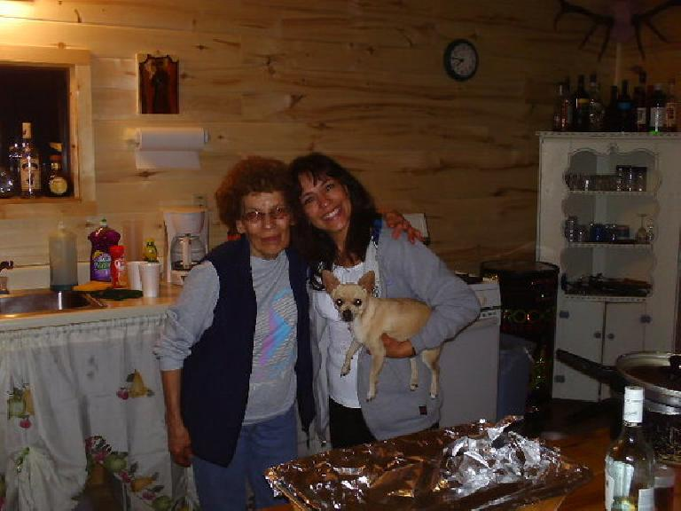Day 21: Miles from the New Mexico border, my cyclometer broke.  I was unable to find a replacement that night but these vacationers, Judy and her mother, fed me chili and cookies in their cabin.