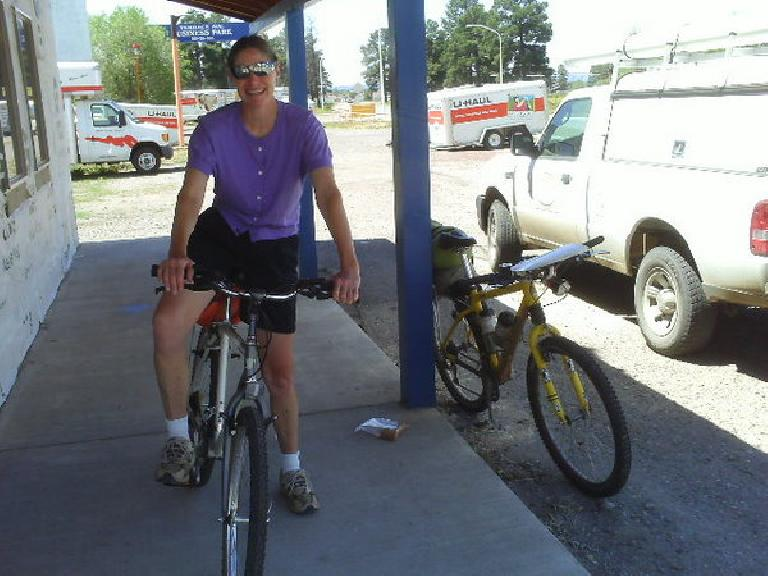 "Day 22: This local cyclist, Janet, in Chama, NM introduced me to ""the biggest cycling enthusiast in town"" for a cyclometer."