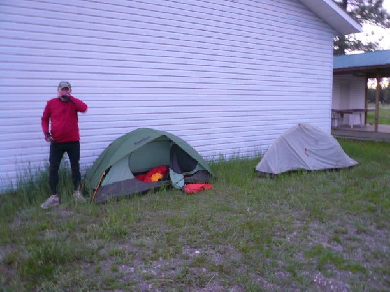 Day 2: Kevin Hall and I camped behind an old church near Barnes Lake, BC about 30 miles north of the British Columbia-Montana border.