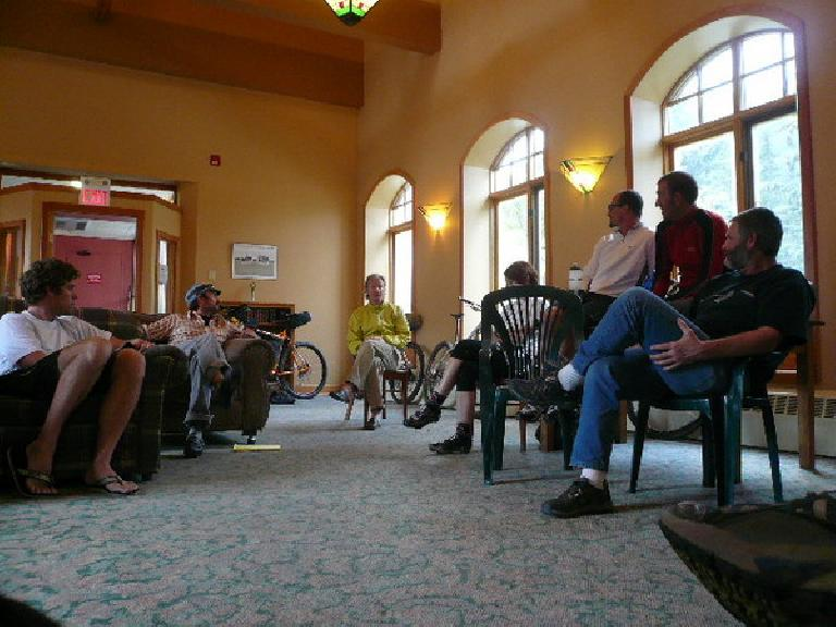 The night before the start of the race in Banff, MTB legend John Samsted gave a talk to the racers.