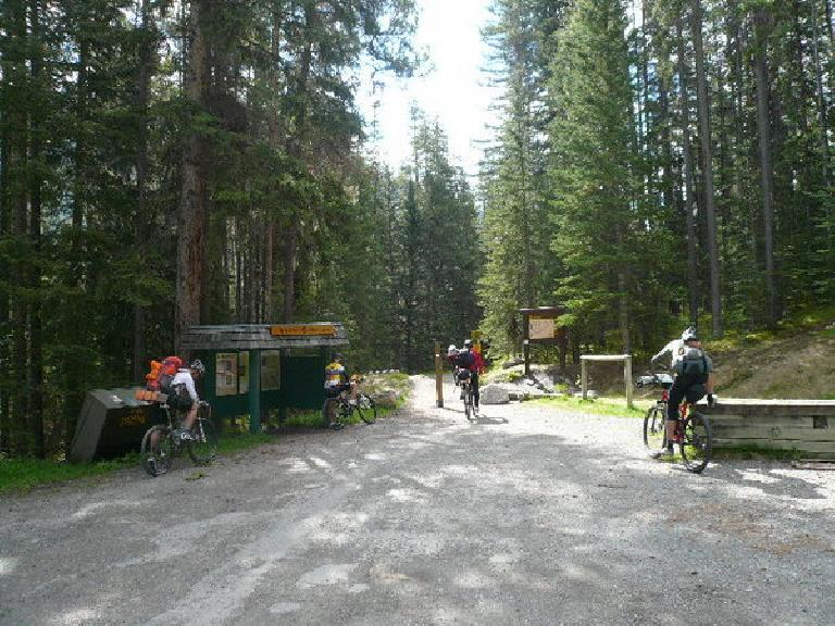 The start of the Tour Divide mountain bike race at the trailhead in Banff, AB.  This would be the last time I would see many of the racers. (June 13, 2008)