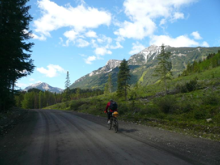 [Day 2, Mile ~100] Riding again with Kevin Hall through the Canadian Rockies north of Elkford, British Columbia. (June 14, 2008)