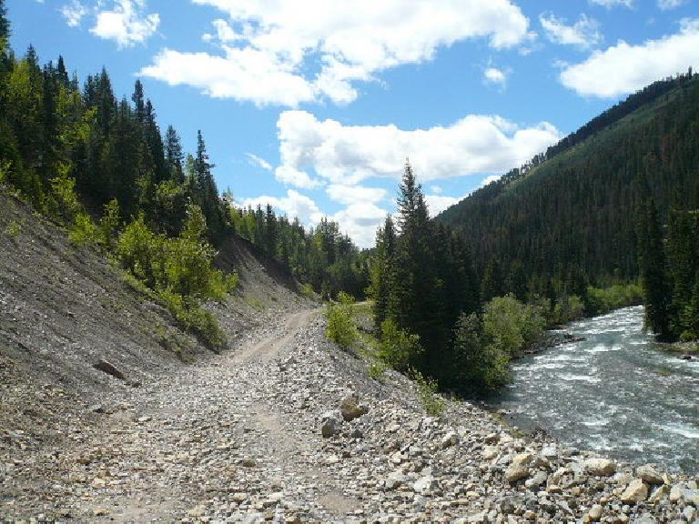 [Day 2, Mile ~120] Rocky trail by a river south of Elkford, BC. (June 14, 2008)