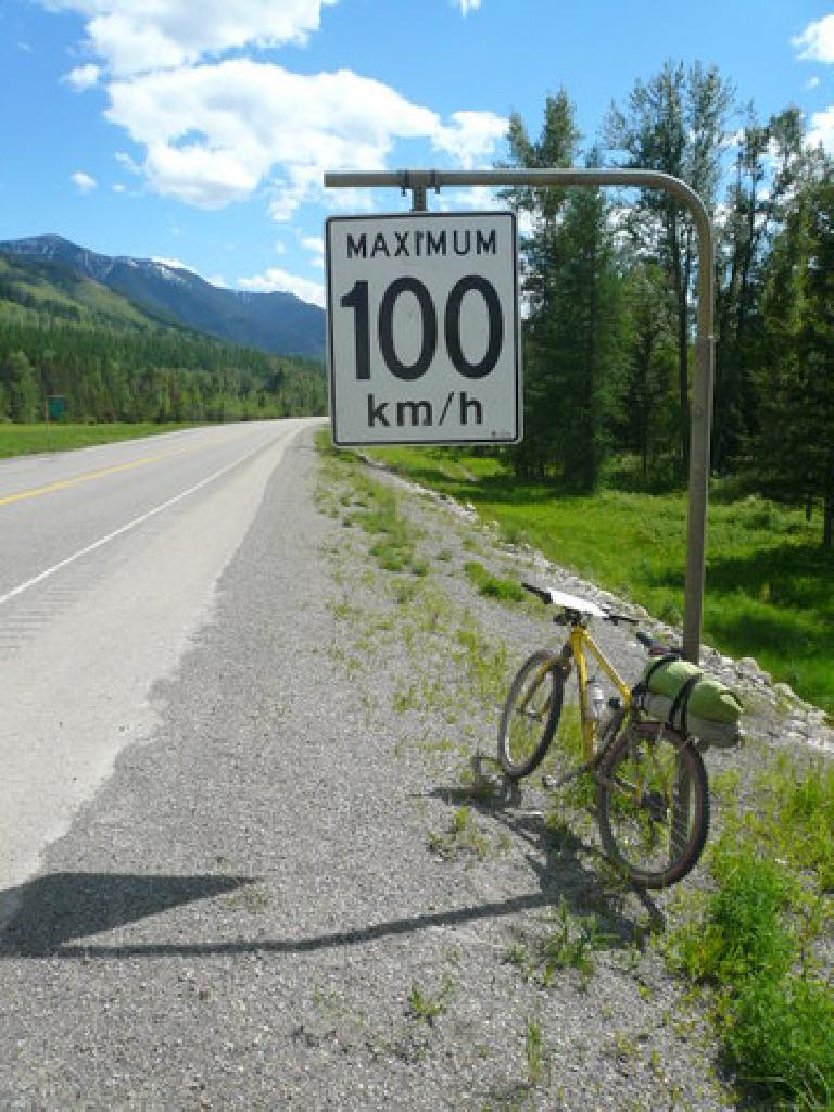 [Day 2, Mile ~145] Don't worry, I didn't break the speed limit here in Sparwood, BC. (June 14, 2008)
