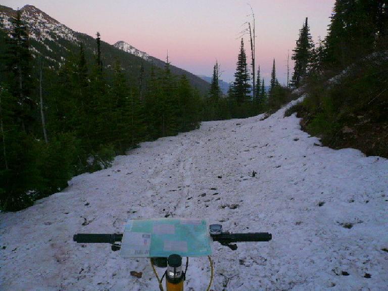 [Day 5, Mile 443] Snow-covered Richmond Peak in northwestern Montana. (June 17, 2008)
