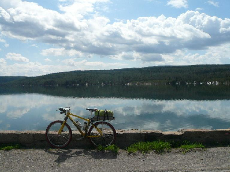 [Day 11, Mile 997] Cranky in front of the Grassy Lake Reservoir along the John D. Memorial Parkway through the Targhee National Forest in Wyoming. (June 23, 2008)