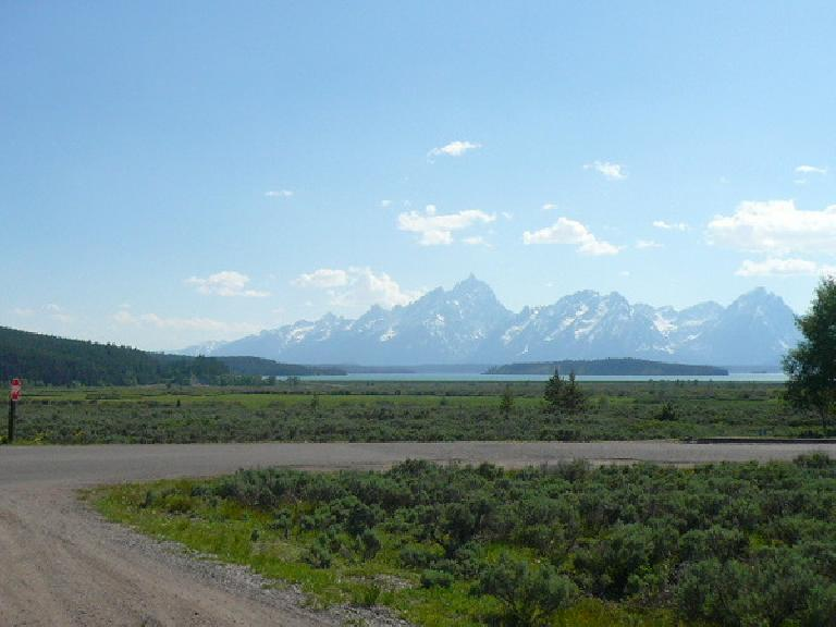 [Day 11, Mile 1020] Jackson Lake, Wyoming with the Grand Tetons in the distance. (June 23, 2008)