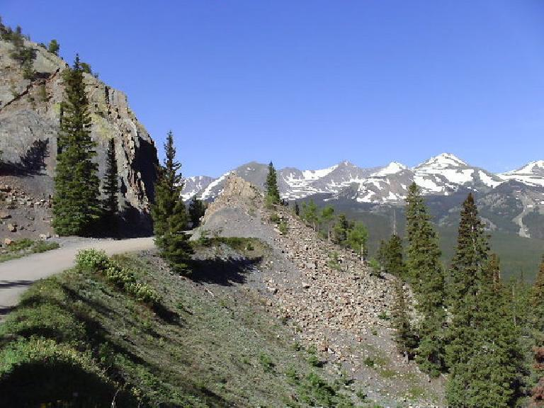 [Day 17, Mile 1678] Going towards the top of Boreas Pass (elevation: 11,482 feet) southeast of Breckenridge, CO. (June 29, 2008)