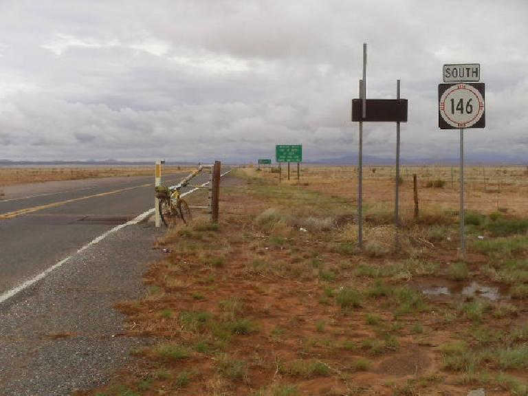 "[Day 27.5, Mile 2624] No more off-roading and just 65 miles to the Mexican border on State Hwy. 81, ""The Lonely Highway.""  It was also the loneliest finish ever but totally worth it! (July 10, 2008)"