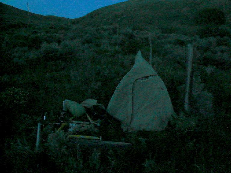 [Day 9] For the most part, I refused to allow hotel and established campground locations dictate my schedule -- meaning that I often had to stealth camp. (June 21, 2008)