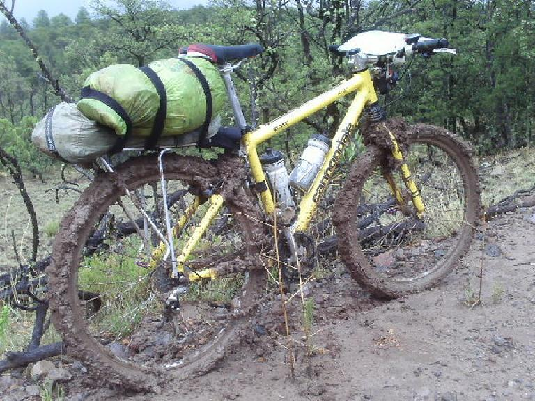[Day 27] I was careful to hike over extremely muddy sections instead of riding, but mud-jamming still occurred.  Sometimes it took 3 minutes to go 10 feet.  Ridiculous. (July 9, 2008)