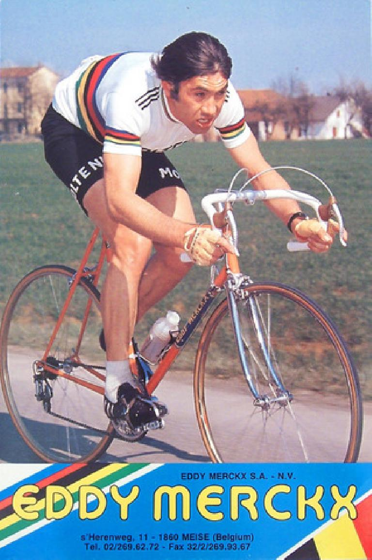Eddy Merckx wearing the world champion colors, probably after winning the World Championship in 1974. Photo: Ray Dobbins.