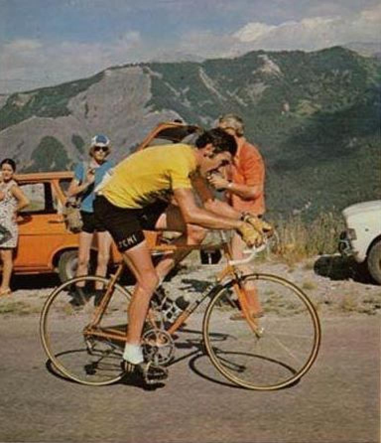Eddy Merckx on his eponymous lugged steel bike in the 1974 Tour de France. Photo: CanalBlog.com.