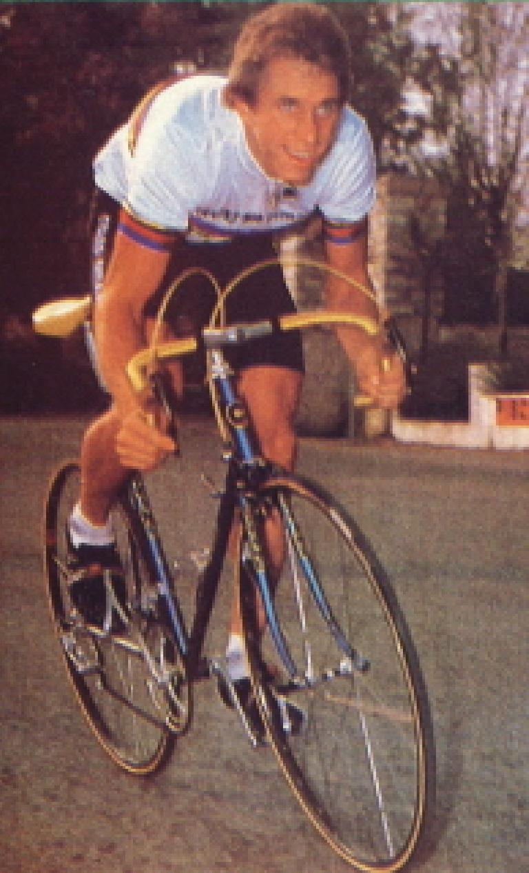 Greg LeMond wearing the world champion colors on his Gitane in 1983. He won his first Tour in 1986, but not on a Gitane. Photo: User airmailv2 on GregLemondFan.com.