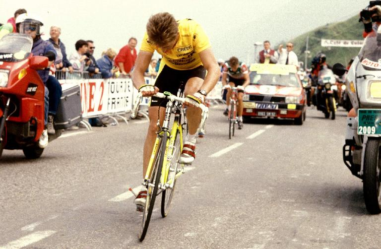 Greg LeMond (USA) 500m from finish at the Superbagneres Stage in the 1989 Tour de France. Photo: John Pierce; sent by James Greenlees.