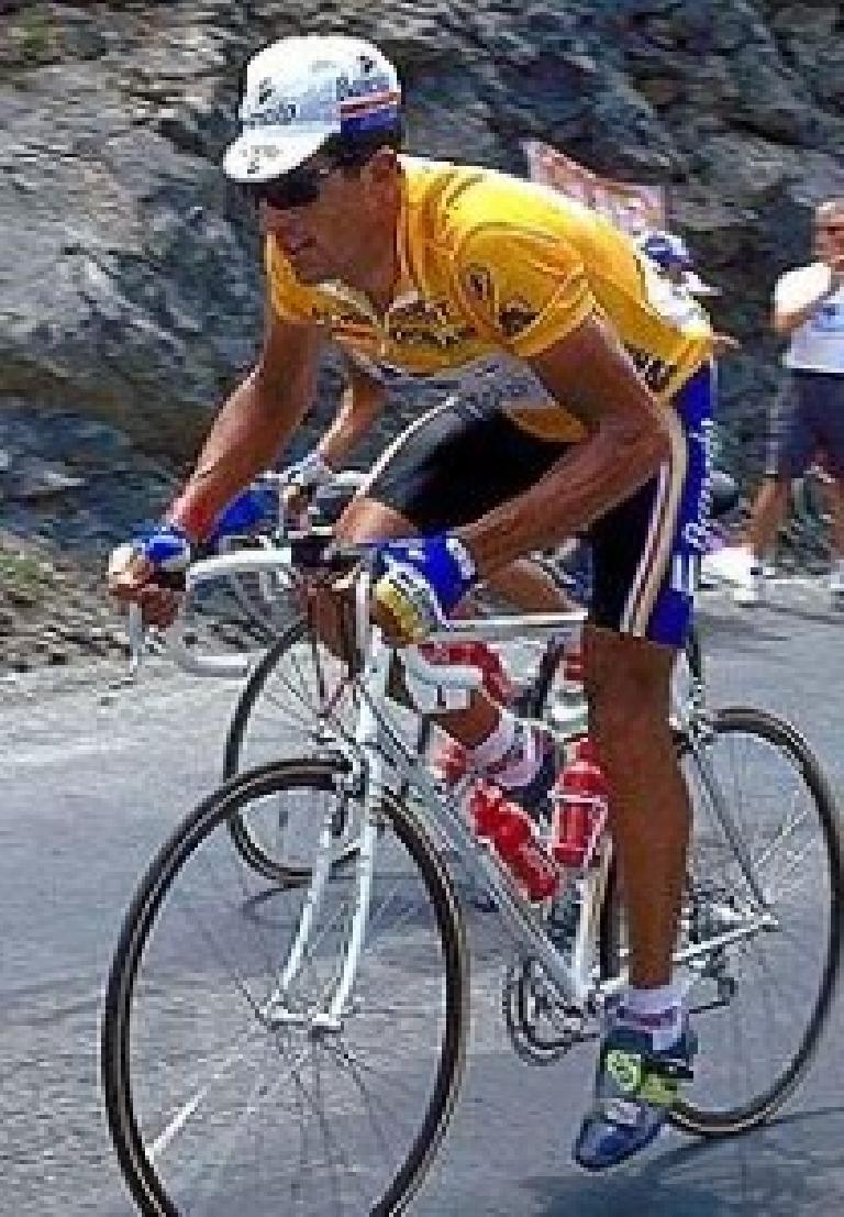 Miguel Indurain on his white Pinarello in the Tour de France, probably circa 1995. Photo: SportsFanaticcoza.