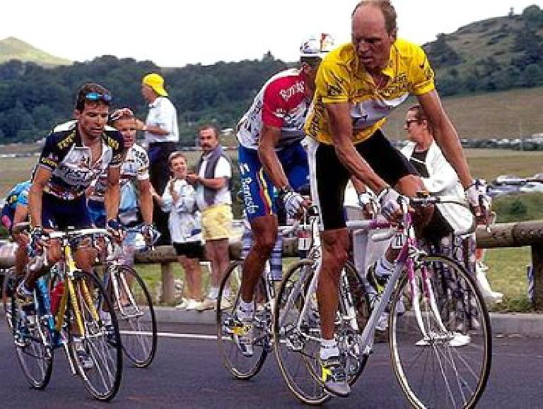 Bjarne Riis on his Pinarello in the 1996 Tour de France, which he won. Photo: The Guardian.