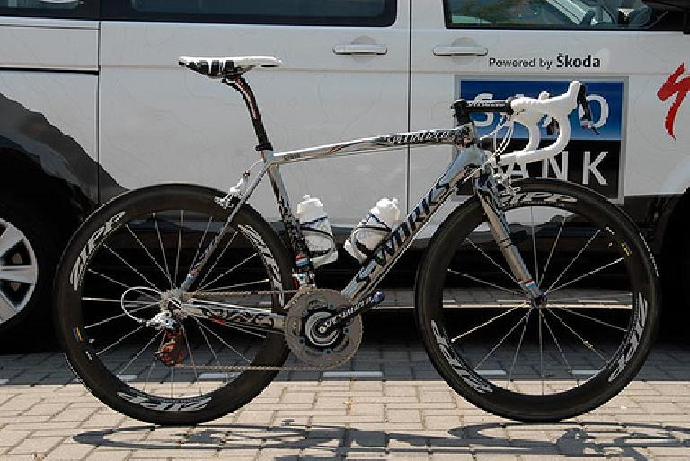 Andy Schleck's custom Specialized S-works Tarmac SL3 in the 2010 Tour de France. Photo: The Road Diaries.
