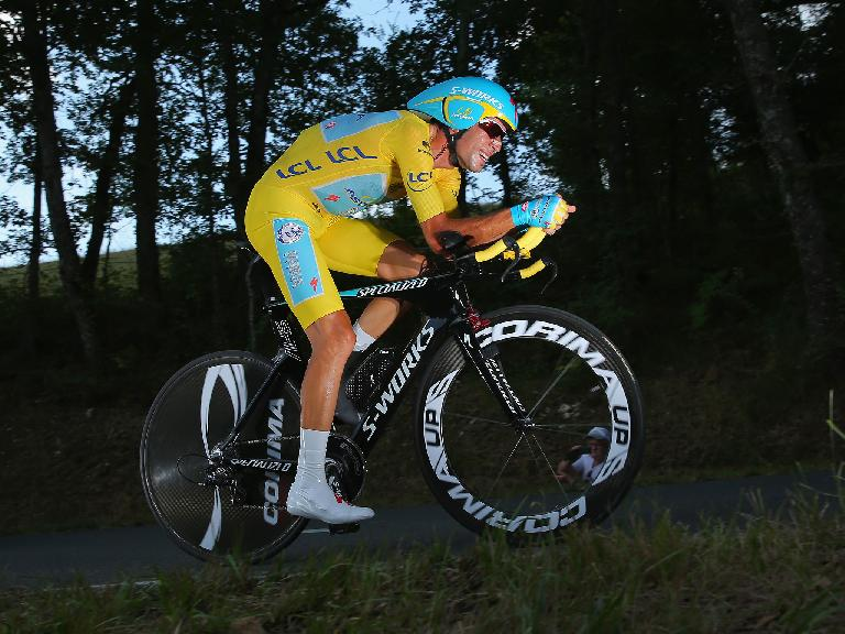 Vincenzo Nibali on his Specialized Shiv TT bike during the time trial of the 20th stage of the 2014 Tour de France. Photo: The Independent. (July 26, 2014)
