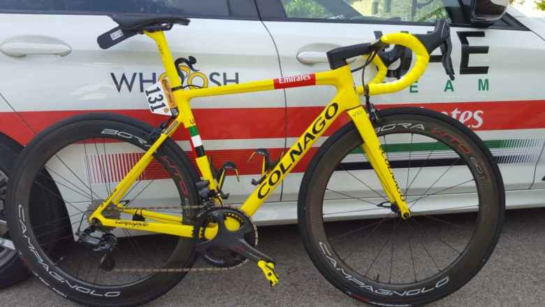 The yellow Colnago V3Rs bike Tadej Pogačar rode into Paris on the final stage of the 2020 Tour de France.