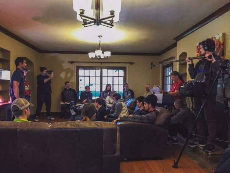 Team meeting for Team Sea to See inside a large home we rented on AirBnB for Training Camp #2 in Grand Junction.