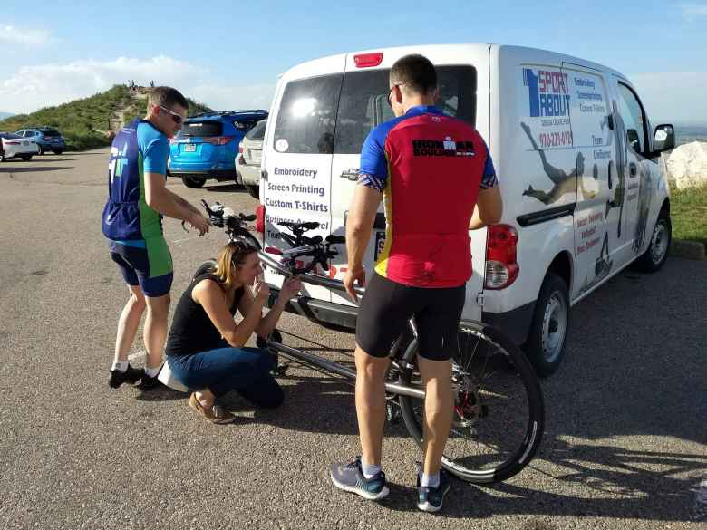 Katie Eastman from 9News Denver taking a photo of the tandem Chris Howard and Dan Berlin rode in the Horsetooth Hills of Fort Collins.