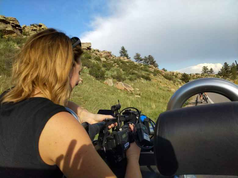 Katie Eastman from 9News Denver shooting video from the passenger seat of my Audi TT Roadster.