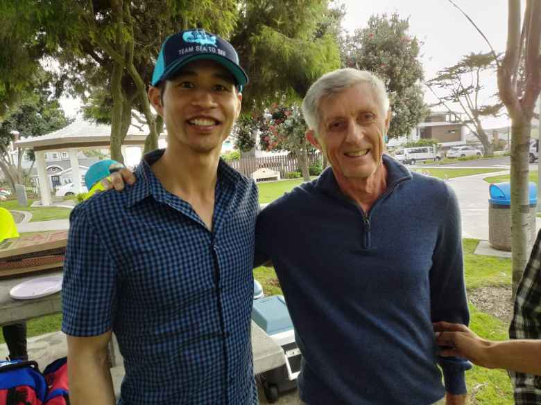 Felix Wong and RAAM legend Pete Penseyres at a party for Team Sea to See and Aira Tech Corp. at Magee Park in Carlsbad, California.
