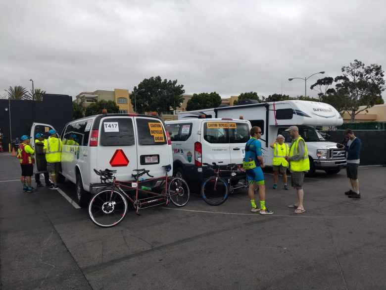 Three of Team Sea to See's vehicles for RAAM: Follow Vehicle, Command Vehicle, and an RV.