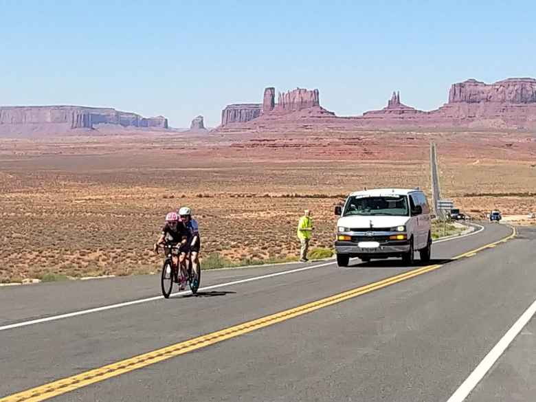 One of Team Sea to See's Follow Vehicles following Pamela Ferguson and Tina Ament on their tandem.