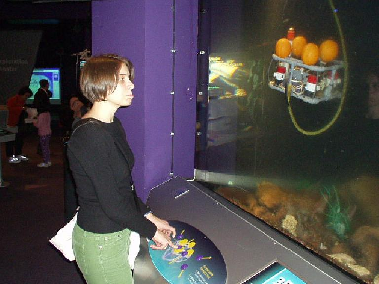 However, here she is sad because the underwater robot was not being responsive to her commands.
