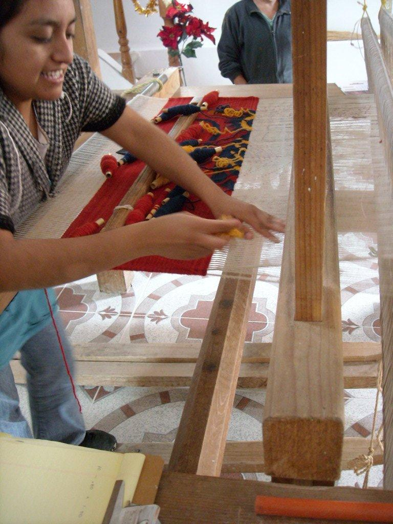 At El Encanto, we were given a weaving demonstration on this loom.
